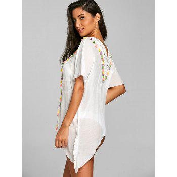 Plunge Crochet Tassel Trim Asymmetric Cover Up - WHITE ONE SIZE