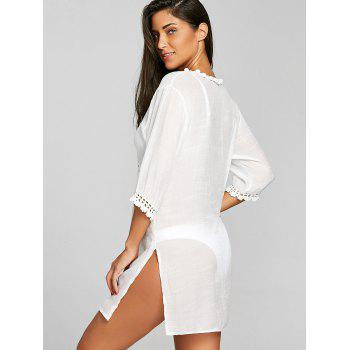 Crochet Insert Plunge Slit Cover Up Dress - WHITE ONE SIZE