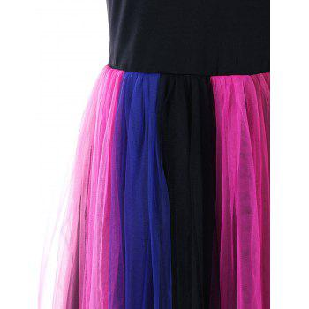Tulle Rainbow Pleated Skater Dress - COLORMIX XL