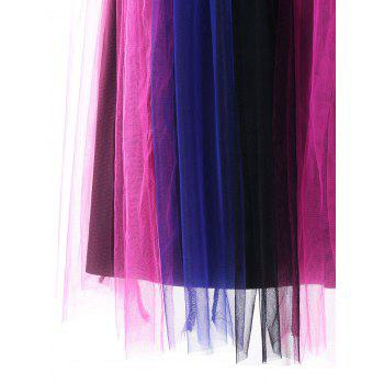 Tulle Rainbow Pleated Skater Dress - COLORMIX 2XL