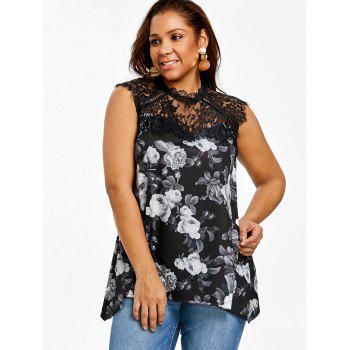 Plus Size Floral Lace Trim Sleeveless T-shirt - BLACK 4XL