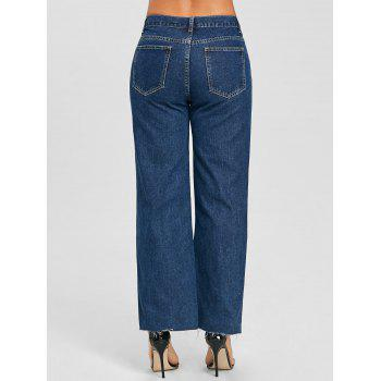 Grommet Raw Hem Wide Leg Jeans - DENIM BLUE M