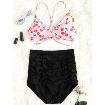 High Waist Cherry Print Braided Straps Bikini Set - PINK M