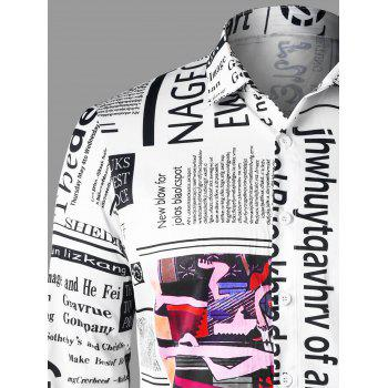 Newspaper Letter Print Shirt - WHITE 2XL