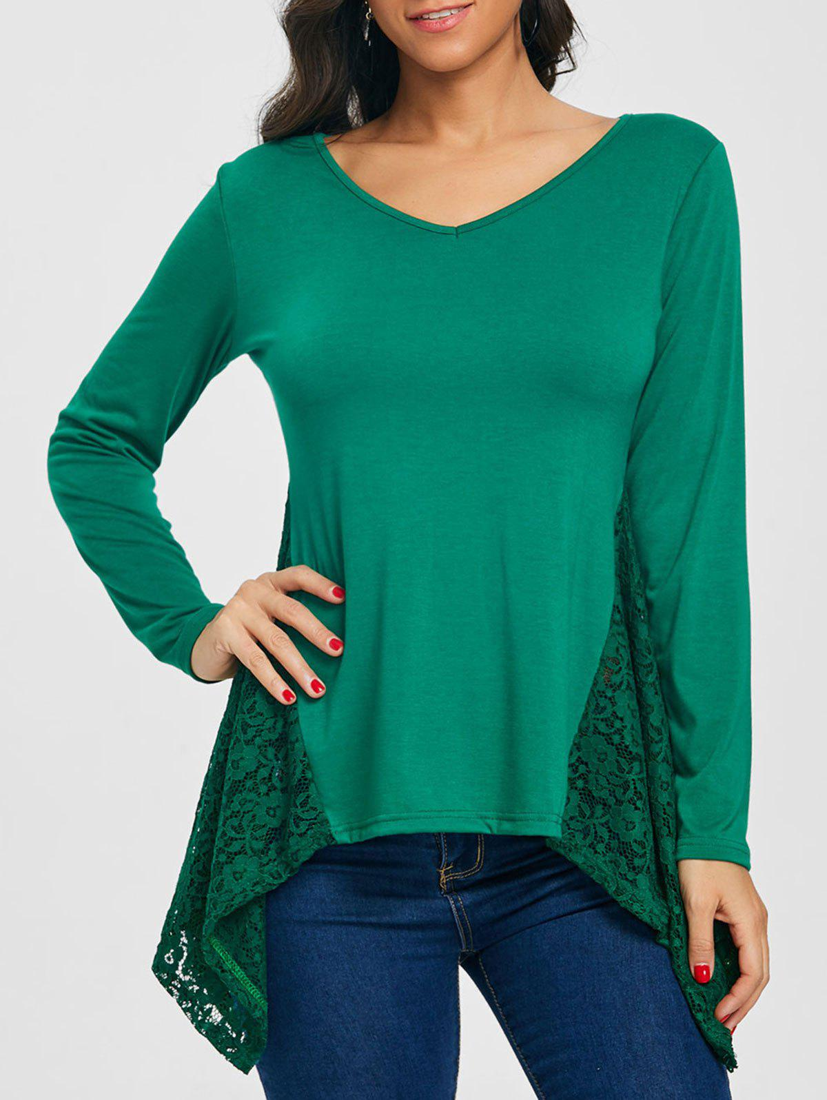 Asymmetric V Neck Lace Panel Tunic T-shirt - BLACKISH GREEN 2XL