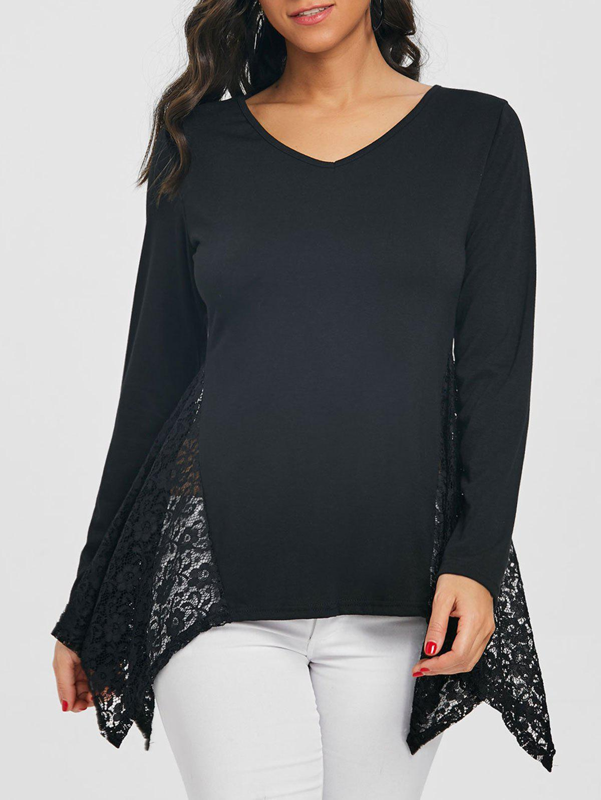 Asymmetric V Neck Lace Panel Tunic T-shirt - BLACK 2XL