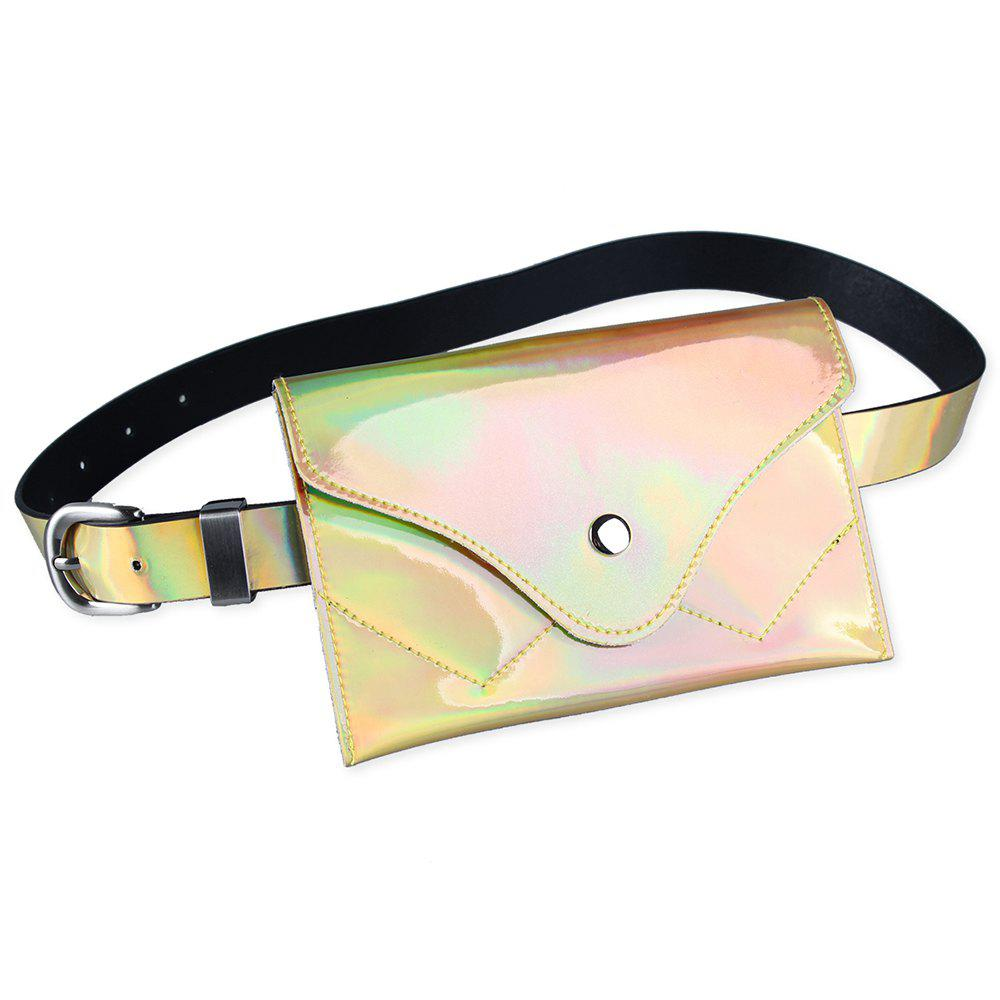 Funny Bag Decorated Artificial Patent Leather Skinny Belt - GOLDEN