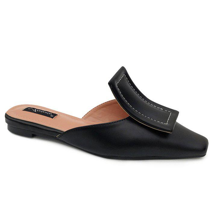 Squared Toe Mules  Shoes - BLACK 38