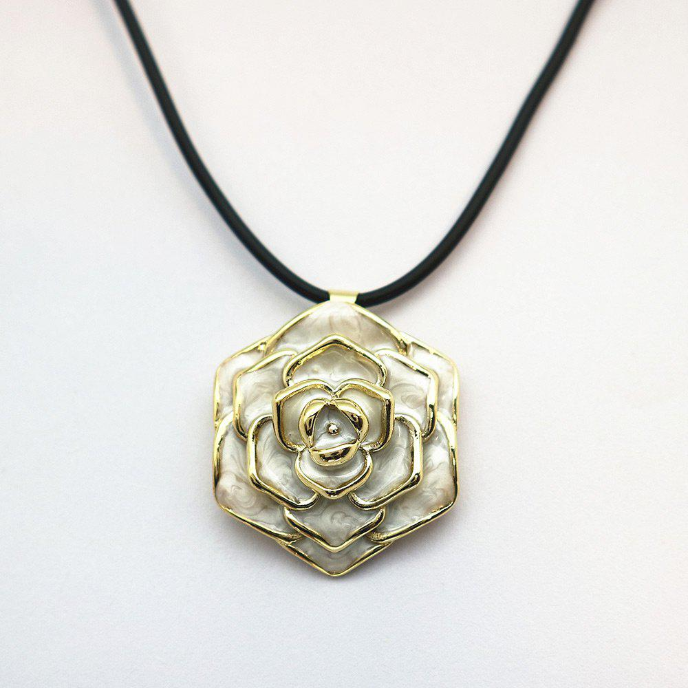 Valentine's Day Enamel Rose Flower Pendant Necklace - OFF WHITE