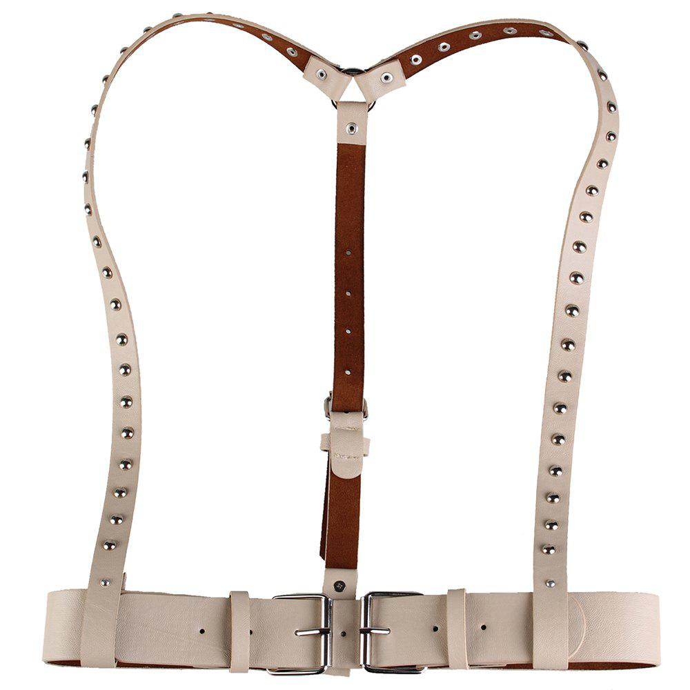 Rivet Embellished Punk Faux Leather Waist Belt - KHAKI