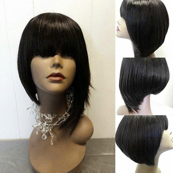 Short Full Bang High Low Straight Synthetic Wig - BLACK