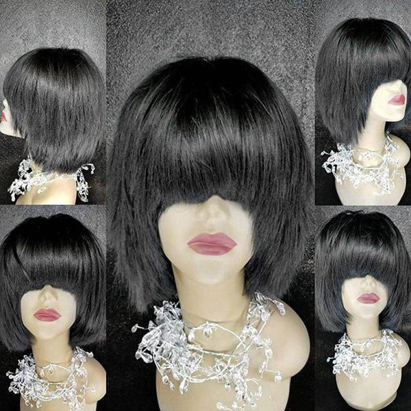 Neat Bang Medium Straight Synthetic Fiber Wig - BLACK