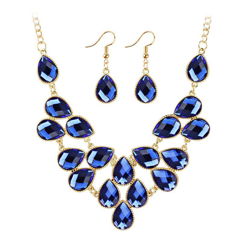 Waterdrop Artificial Cubic Crystal Pendant Necklace and Earrings Set - BLUE
