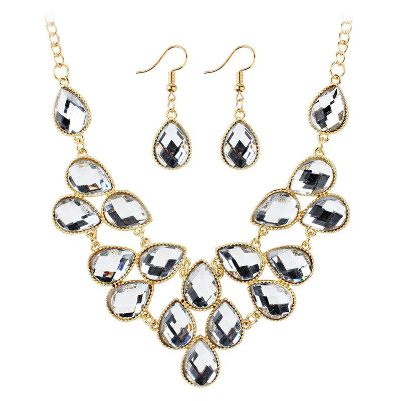 Waterdrop Artificial Cubic Crystal Pendant Necklace and Earrings Set - WHITE