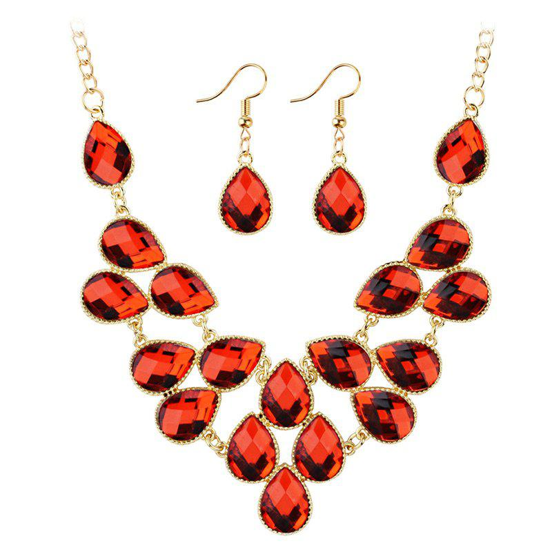 Waterdrop Artificial Cubic Crystal Pendant Necklace and Earrings Set - RED
