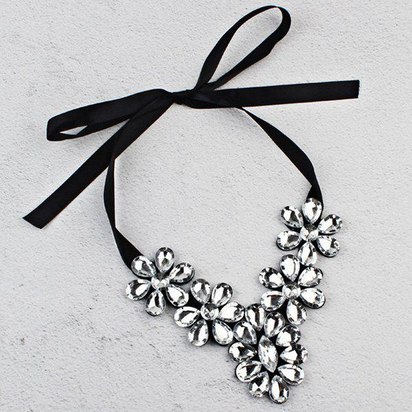 Exaggerated Faux Crystal Flower Ribbon Necklace - WHITE