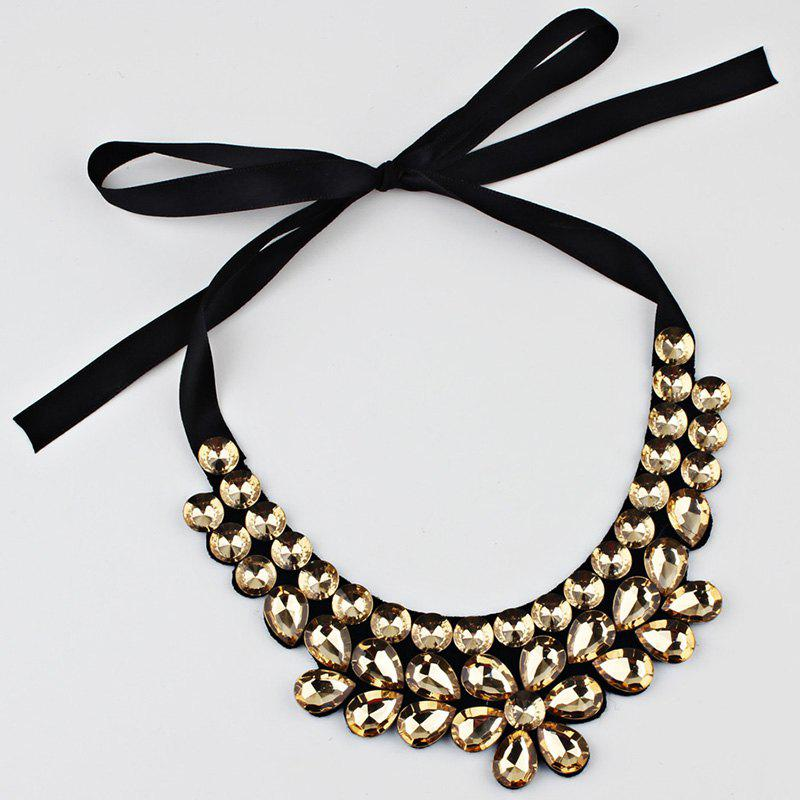 Exaggerated Faux Crystal Detachable Collar Floral Necklace - YELLOW