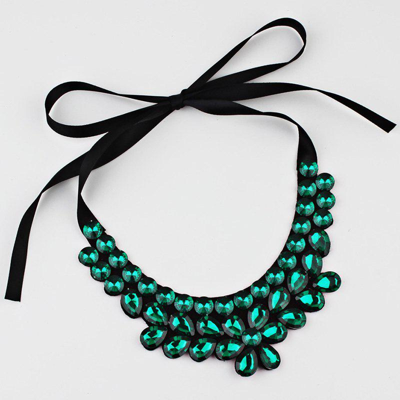 Exaggerated Faux Crystal Detachable Collar Floral Necklace - GREEN