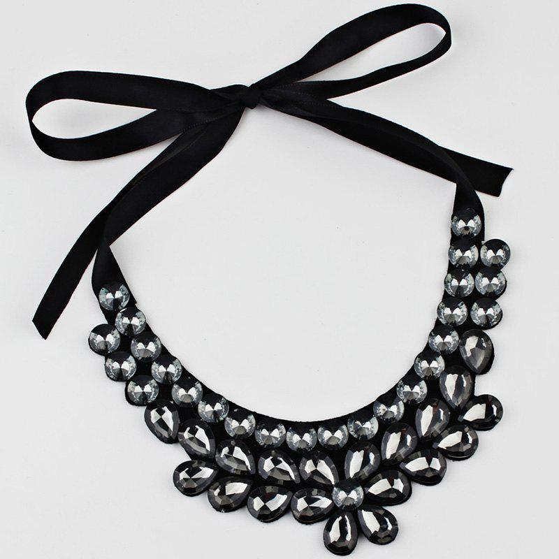 Exaggerated Faux Crystal Detachable Collar Floral Necklace - GRAY