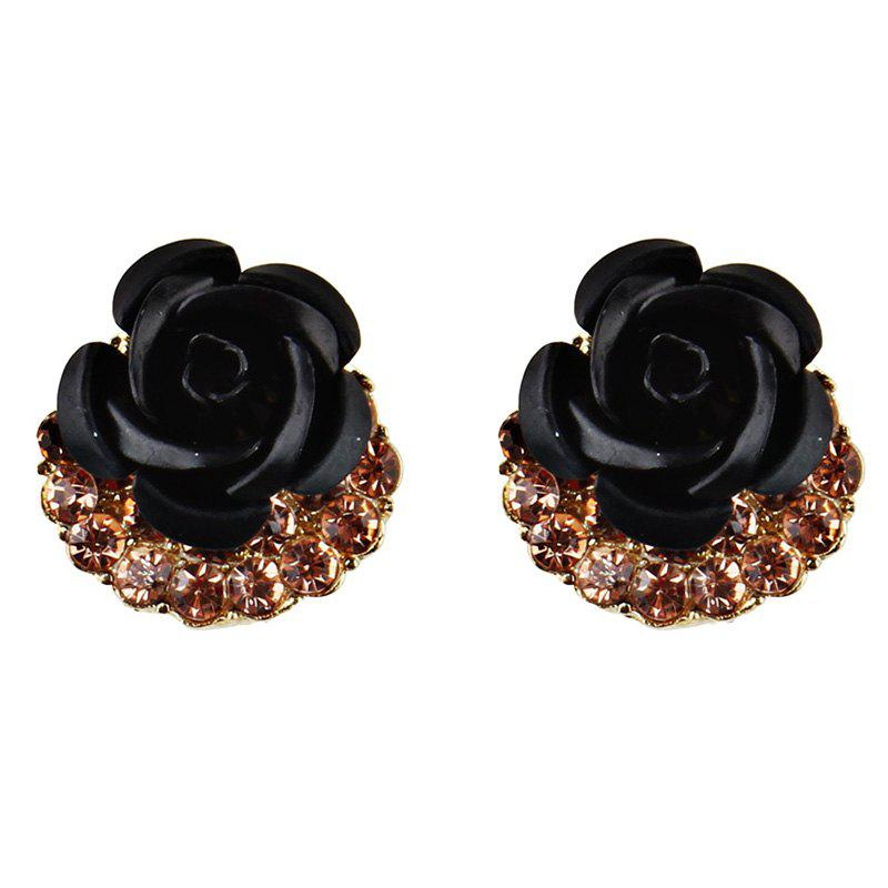 Artificial Crystal Inlay Rose Stud Earrings - BLACK