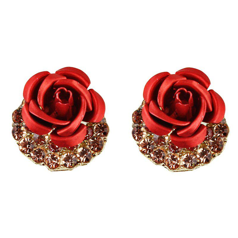 Artificial Crystal Inlay Rose Stud Earrings - RED