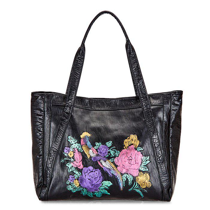 Embossed Flowers PU Leather Shoulder Bag - BLACK