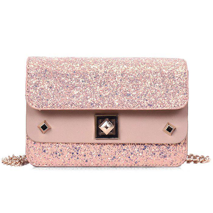 Shimmer Chain Crossbody Bag - PINK