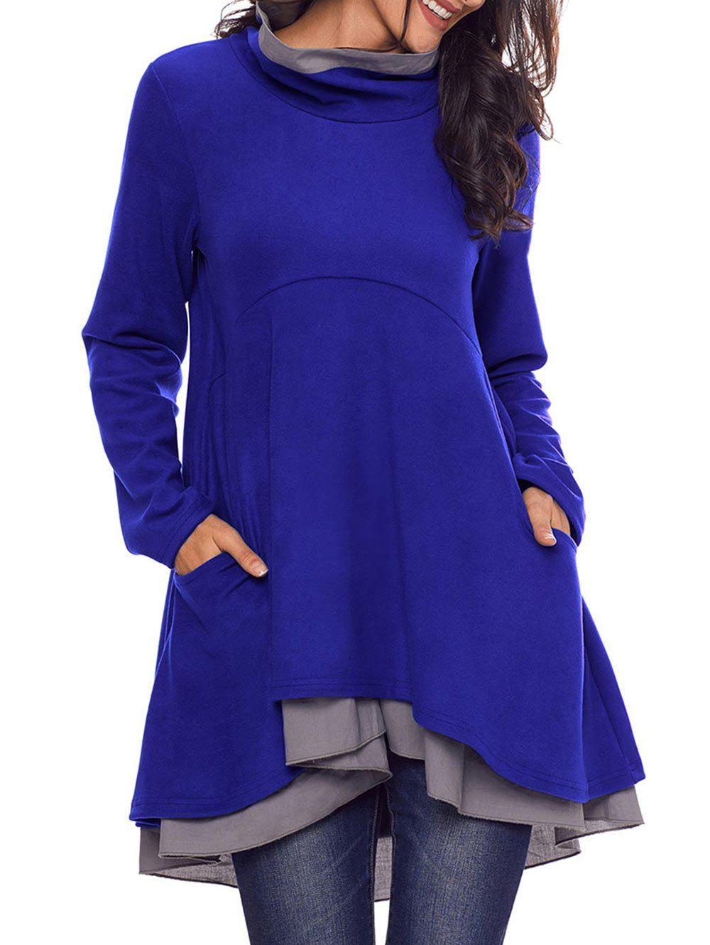 Cowl Neck High Low Tiered Tunic Top - BLUE S