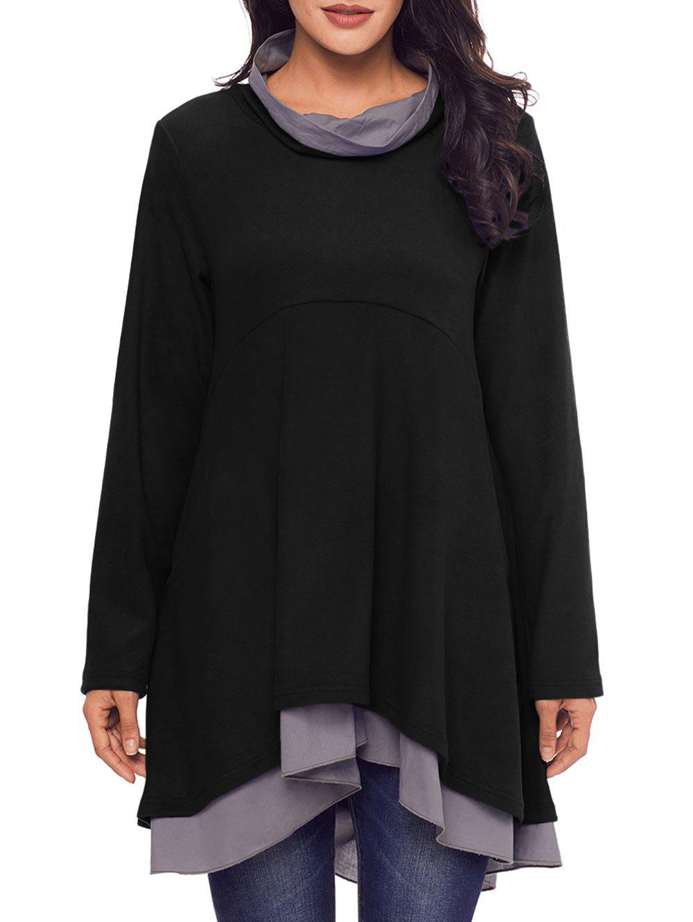 Cowl Neck High Low Tiered Tunic Top - BLACK 2XL