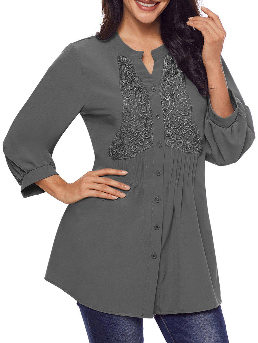 Lace Panel Split Neck Pintuck Tunic Blouse - GRAY S