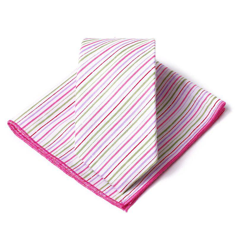 Colored Striped Pattern Necktie Handkerchief Set - PINK