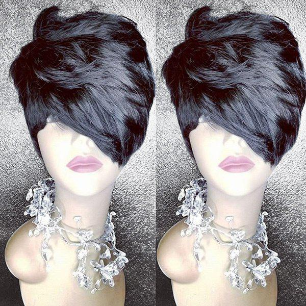 Short Inclined Bang Layered Fluffy Straight Heat Resistant Synthetic Wig - BLACK