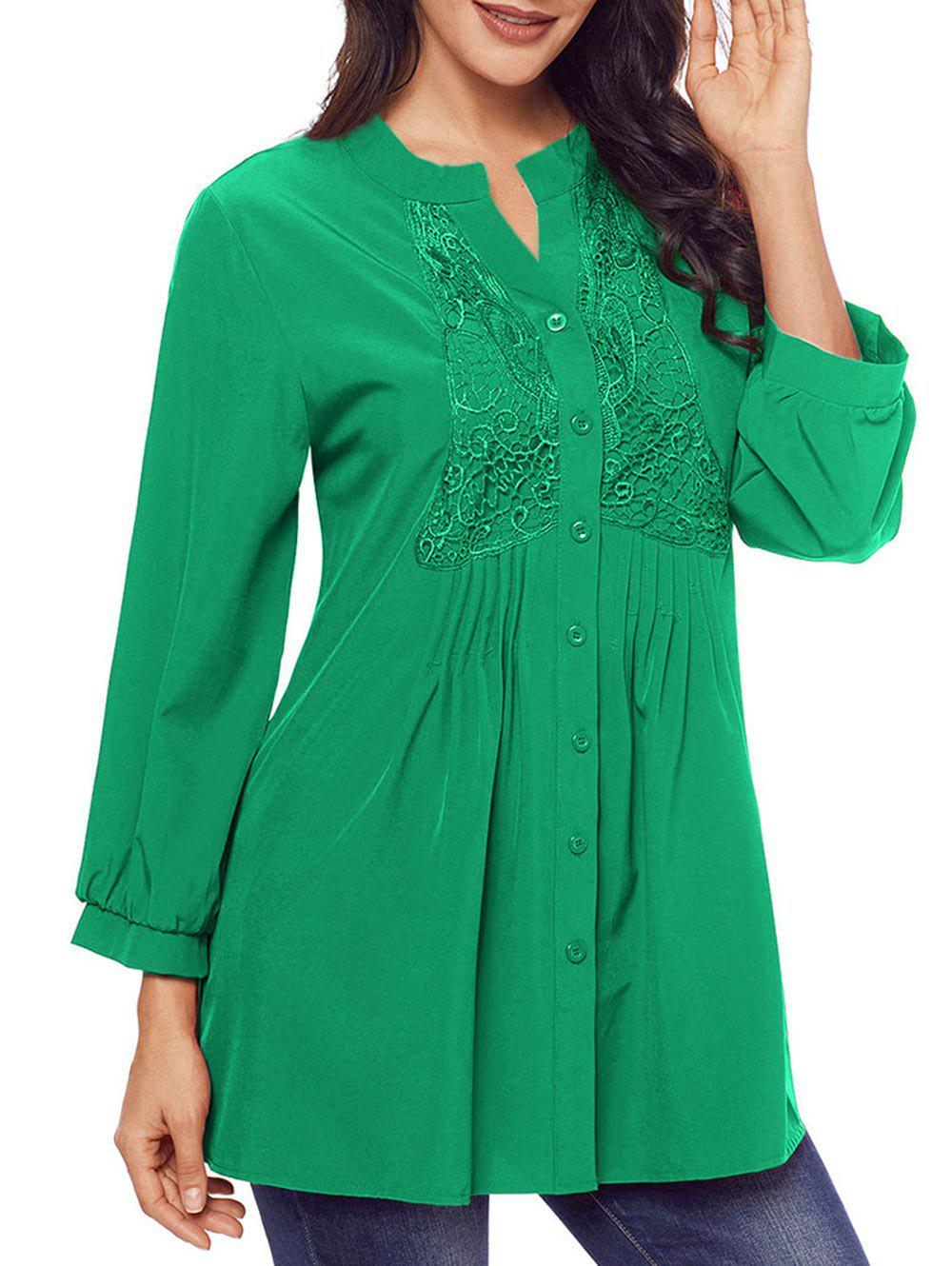 Lace Panel Split Neck Pintuck Tunic Blouse - GREEN S