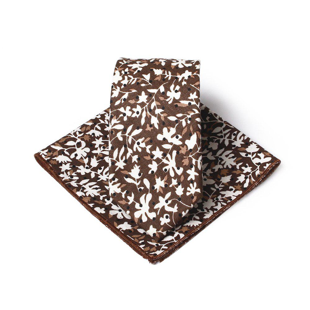 Simple Flowers Pattern Embellished Necktie Handkerchief Set - BROWN