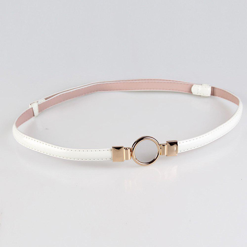 Simple Metal Round Buckle Embellished Skinny Belt - WHITE