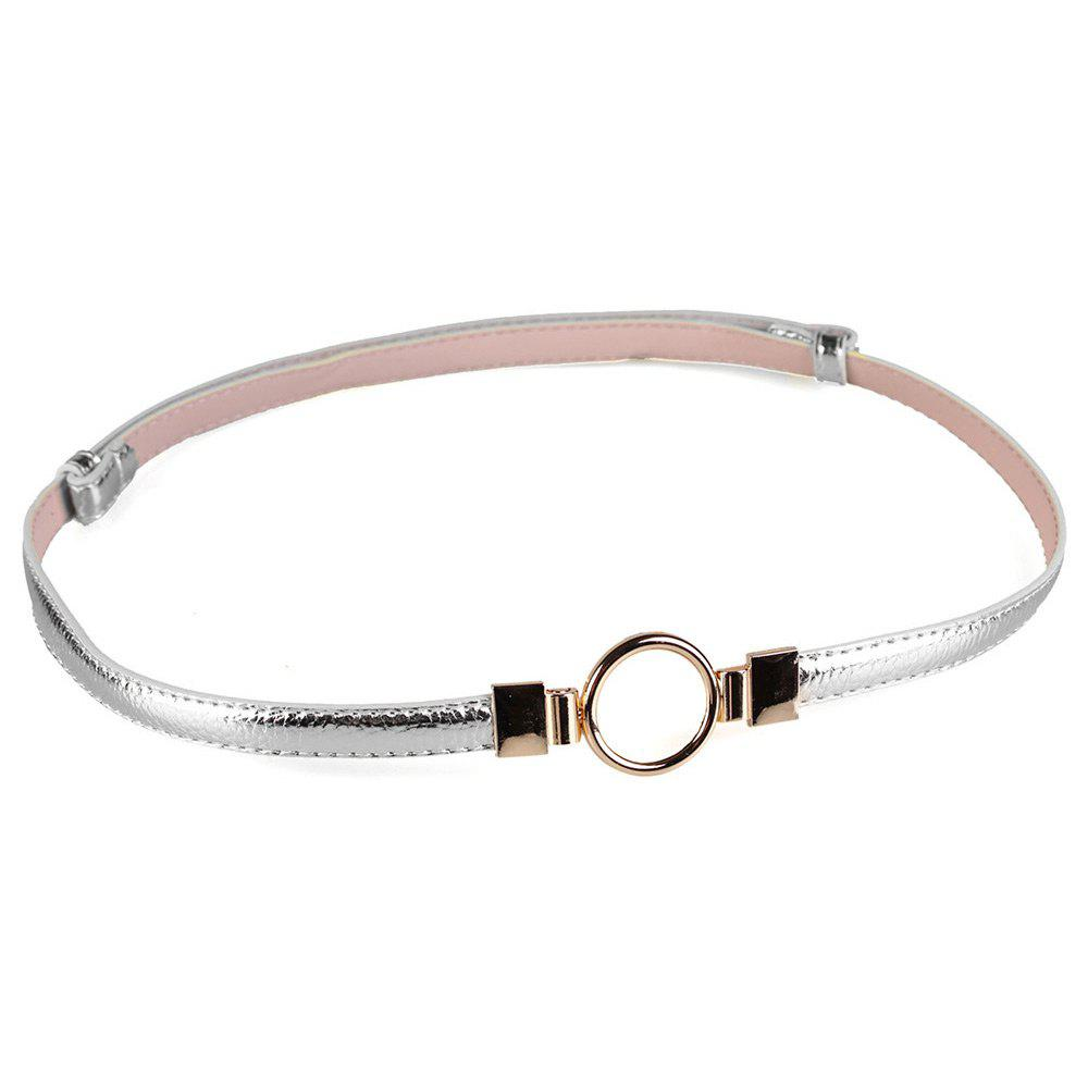 Simple Metal Round Buckle Embellished Skinny Belt - SILVER