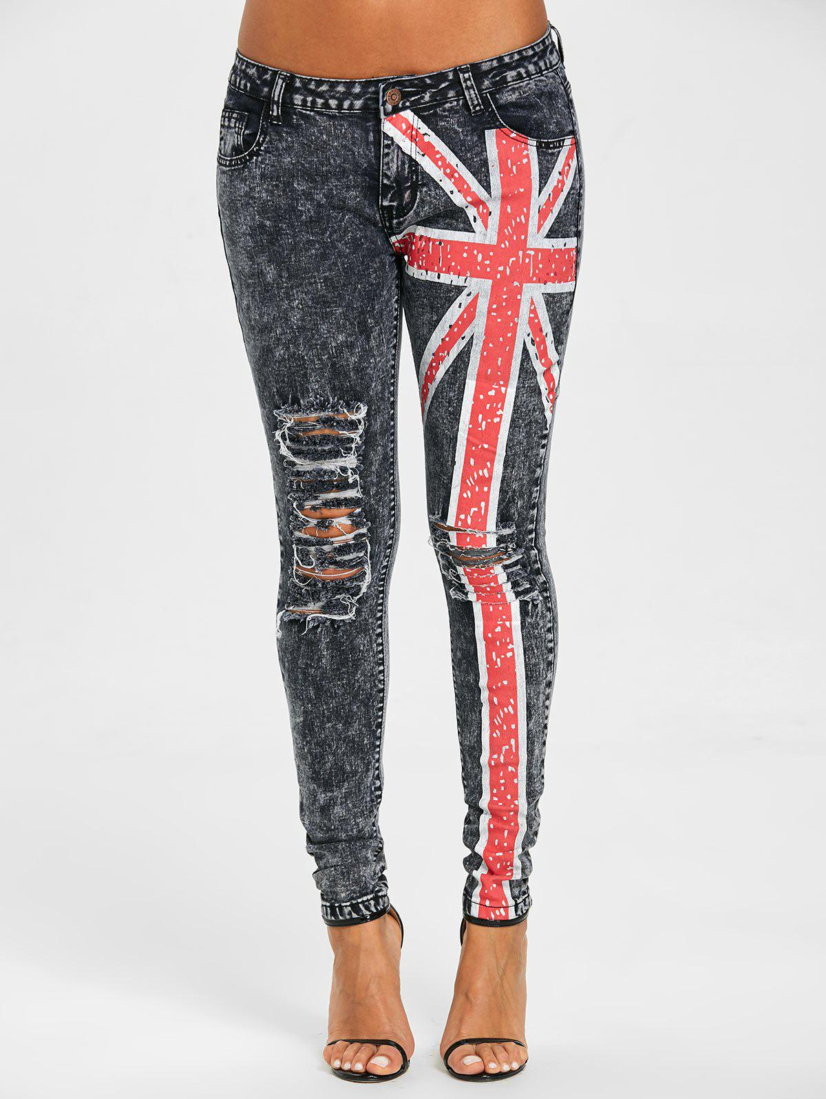 Union Flag Ripped Jeans - COLORMIX M