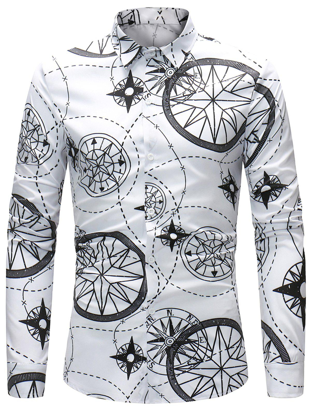 Turndown Collar Compass and Line Printed Shirt - WHITE 2XL