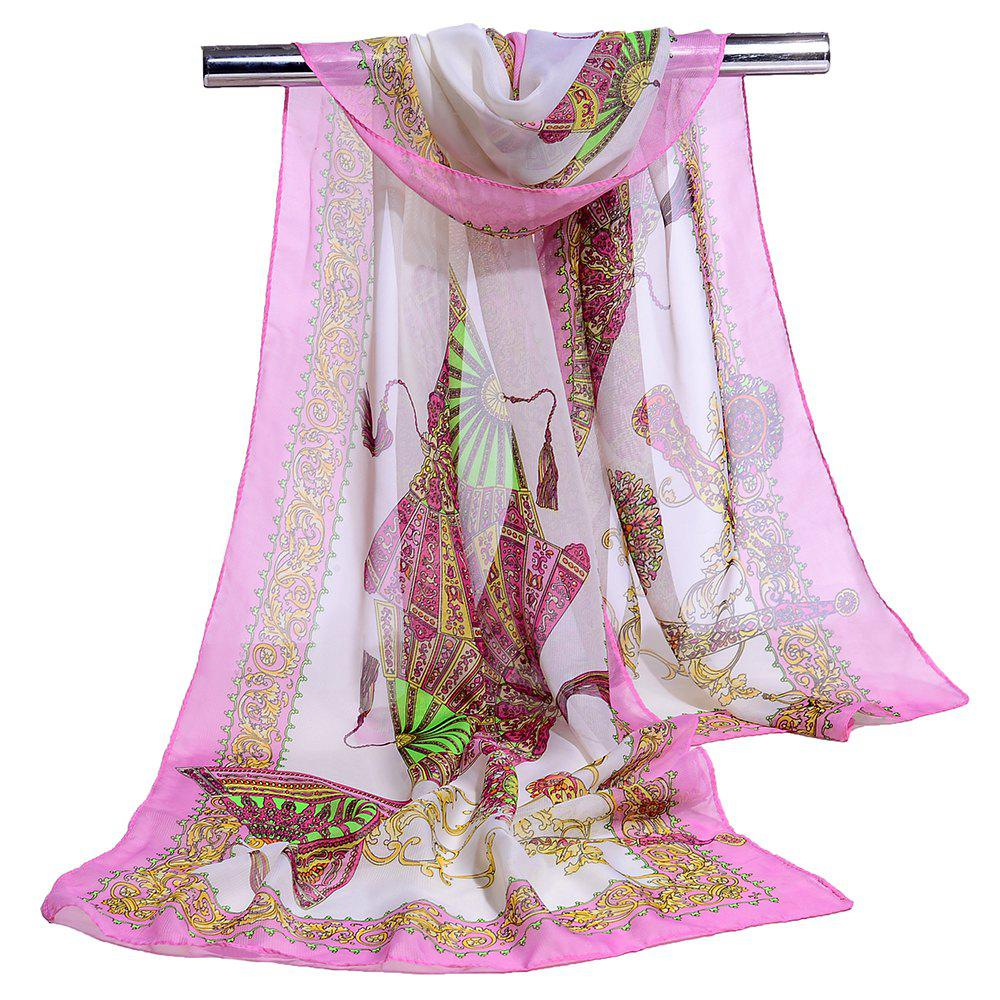 Soft Floral Pattern Printed Chiffon Silky Scarf - PINK