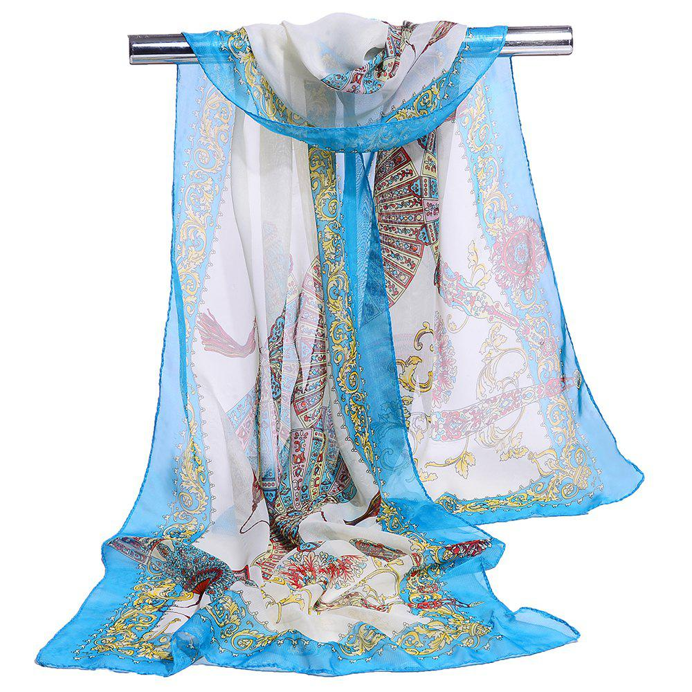 Soft Floral Pattern Printed Chiffon Silky Scarf - AZURE