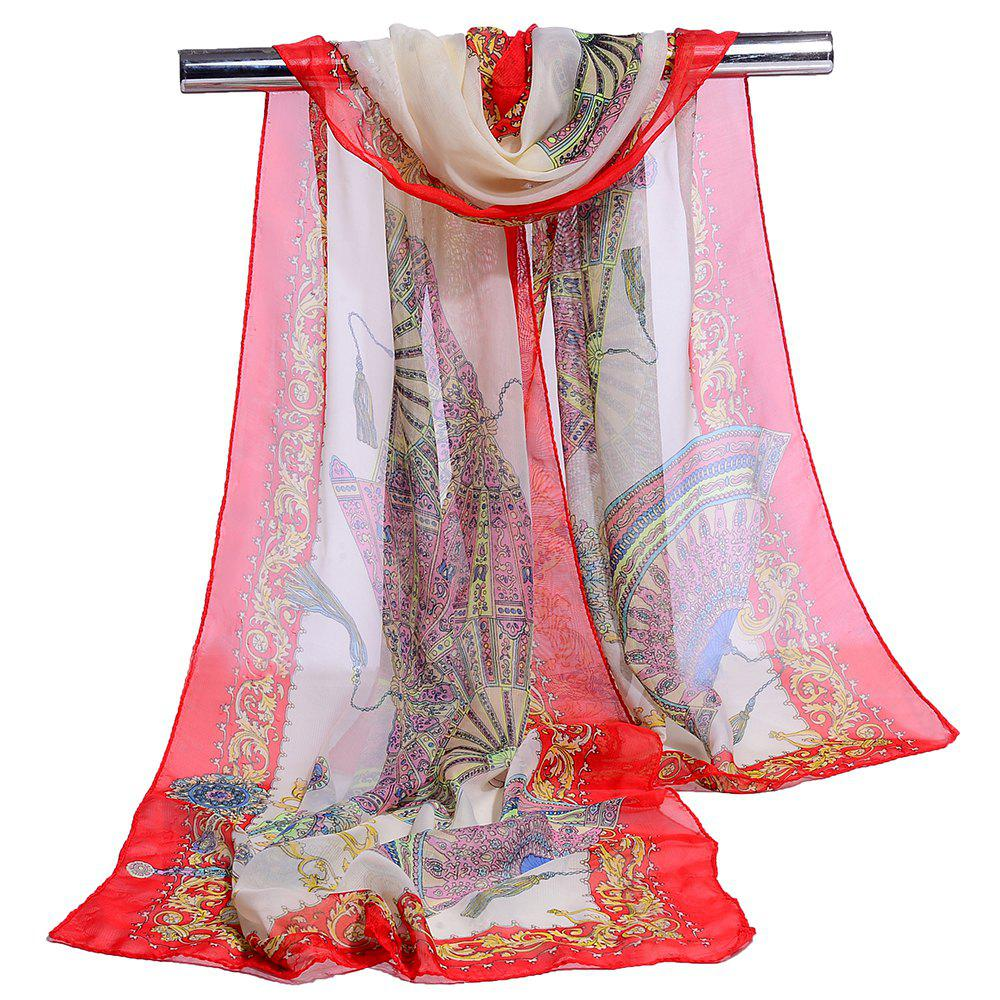 Soft Floral Pattern Printed Chiffon Silky Scarf - RED