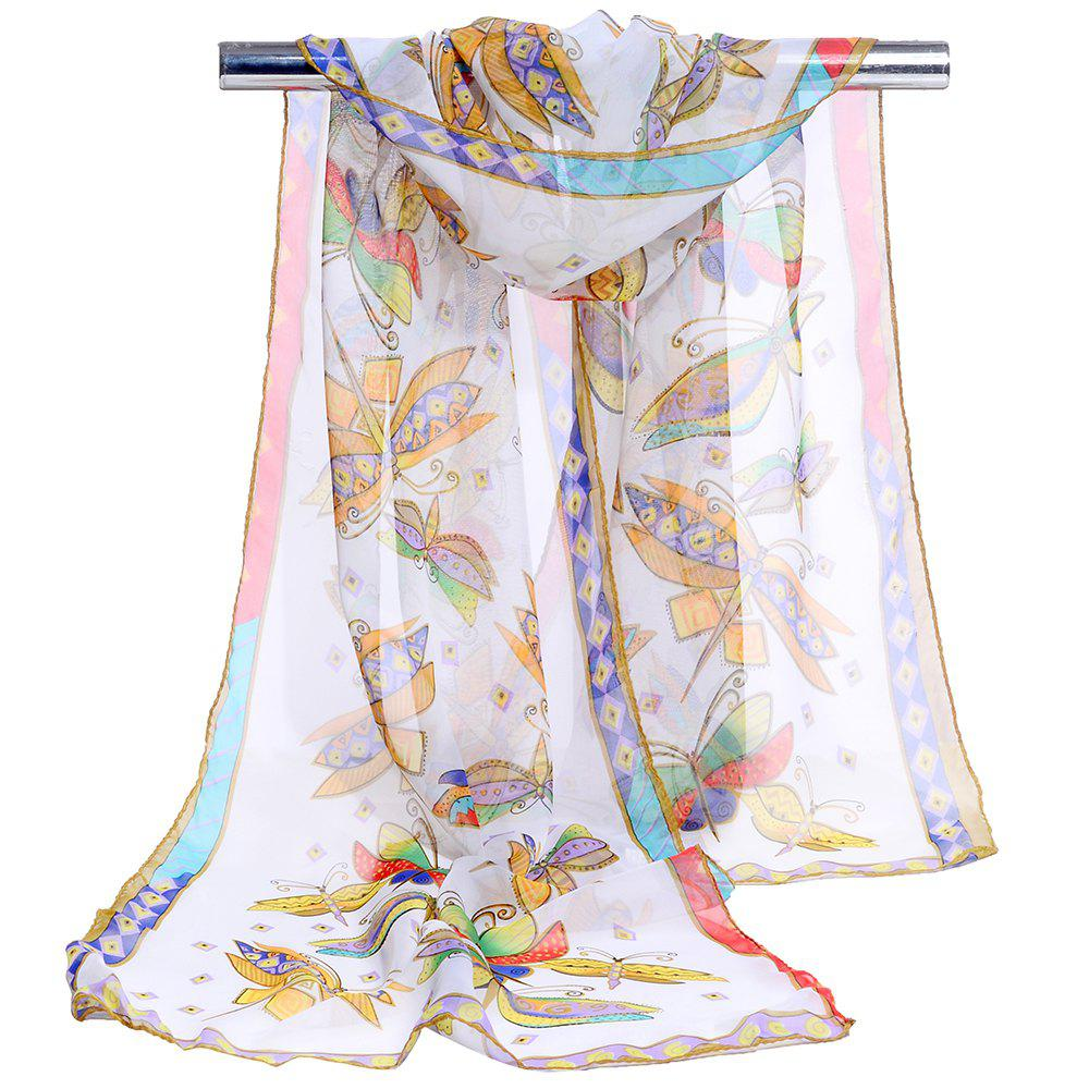 Flying Butterfly Pattern Embellished Silky Long Scarf - WHITE