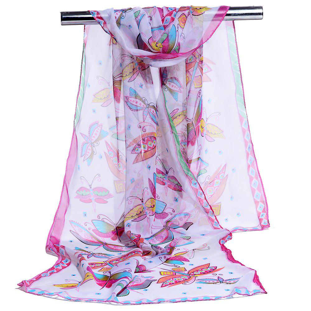 Flying Butterfly Pattern Embellished Silky Long Scarf - PINK