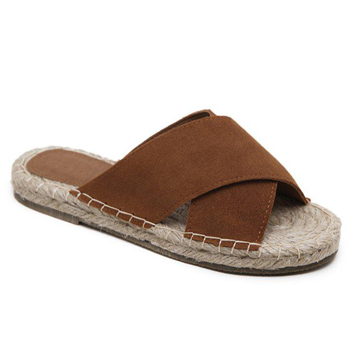 Whipstitch Cross Casual Slippers - BROWN 36