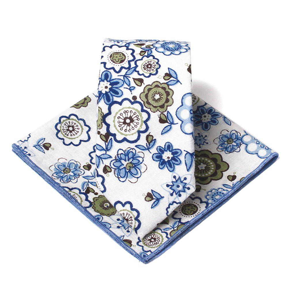 Unique Floral Pattern Handkerchief Neck Tie Set - BLUE