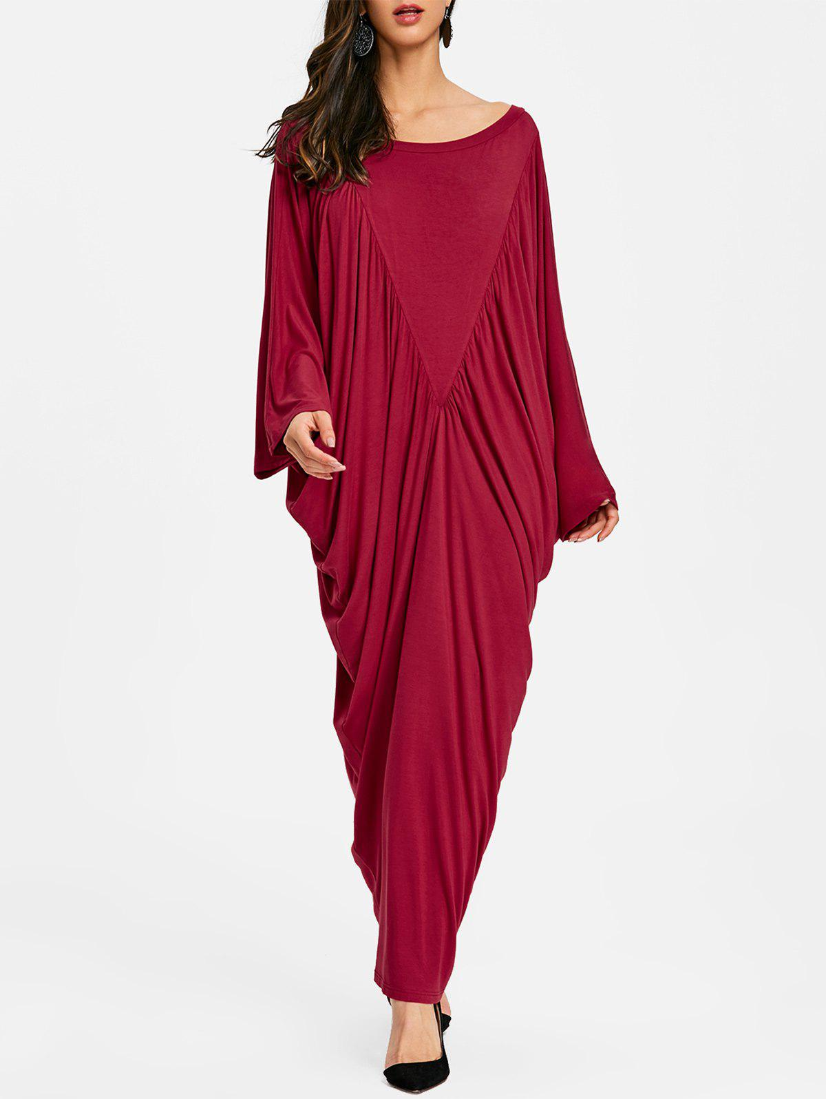 Batwing Sleeve Ruched Long Caftan Dress - WINE RED S