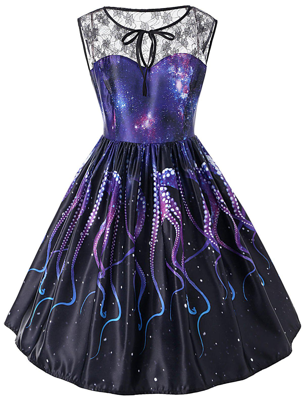 Octopus Claw Printed Lace Insert Sleeveless Dress - MIDNIGHT 2XL