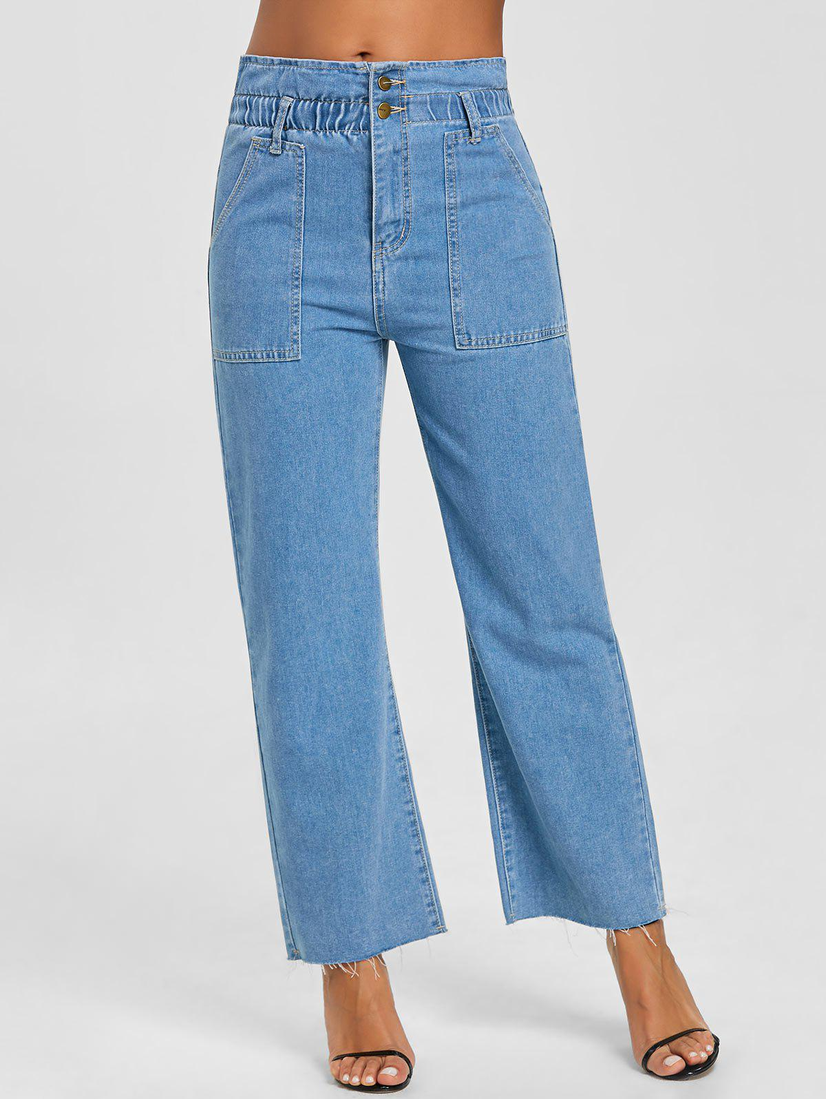 Wide Leg Raw Hem Jeans - LIGHT BLUE M