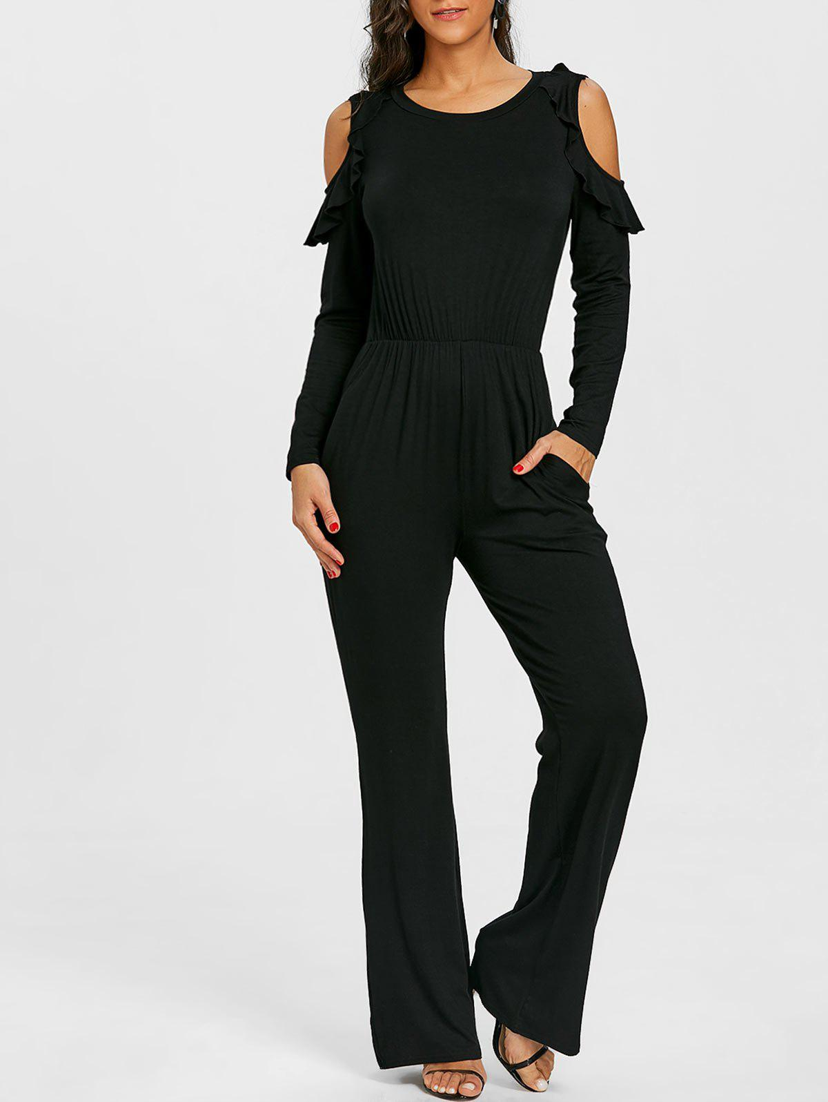 Wide Leg Cold Shoulder Jumpsuit - BLACK L