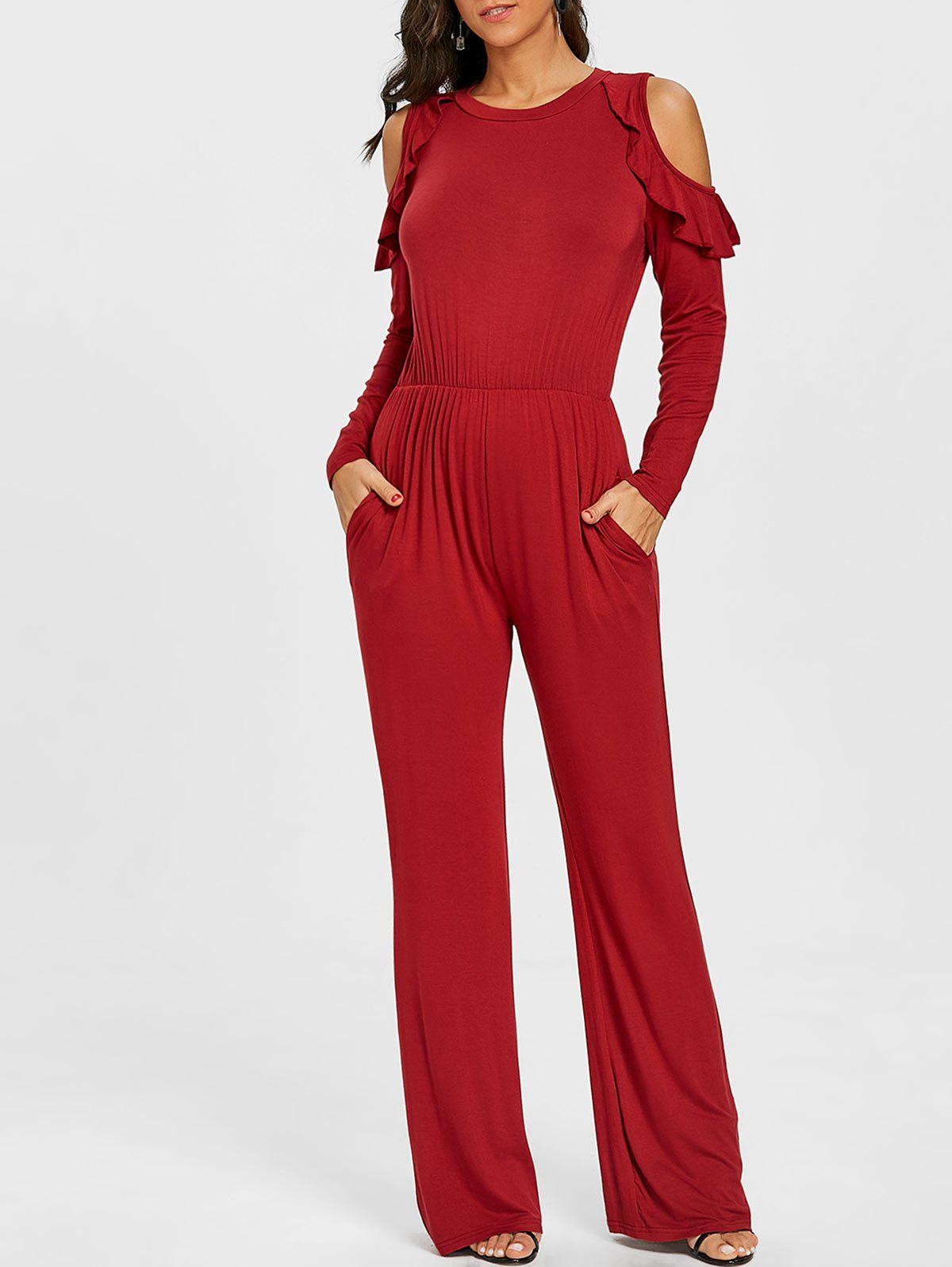 Wide Leg Cold Shoulder Jumpsuit - BURGUNDY L